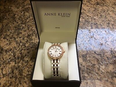 Anne Klein Women's 12/2262RGWT Crystal Accented Rose Gold Tone & Ceramic Watch