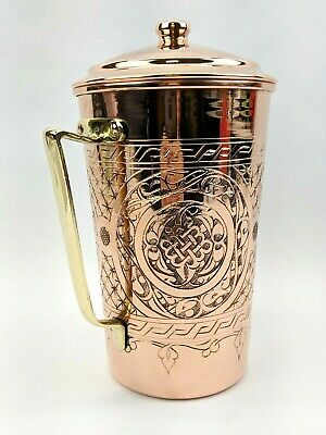 Handmade Heavy Gauge 1mm Hammered Solid Copper 2.2 Quart Serving Pitcher W/Lid