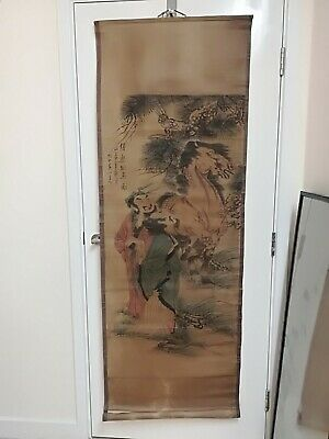 Old Chinese Painting On Horse.