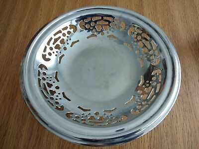 Vintage Cake Stand Pierced Chrome Plated.Good Heavy quality 1950s. England