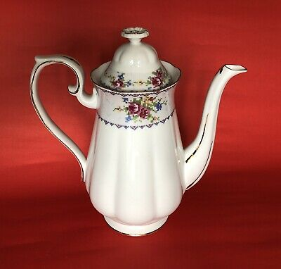 ROYAL ALBERT PETIT POINT COFFEE POT Vintage BONE CHINA ENGLAND Excellent
