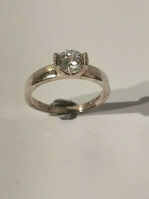 Gorgeous Silver Tone Solitaire Ring - Metal Detecting Find