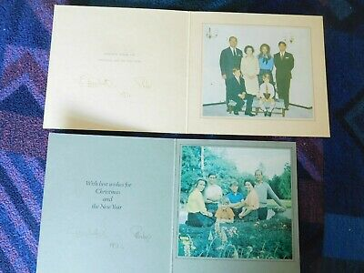 Queen Elizabeth II and Prince Philip 2 Christmas cards 1971 and 1972