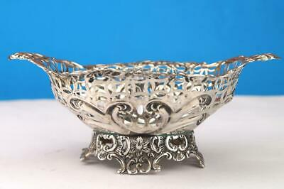 "Victorian 1892 SOLID HALLMARKED SILVER 6.75"" Pierced Footed Bonbon Bowl  108gm"