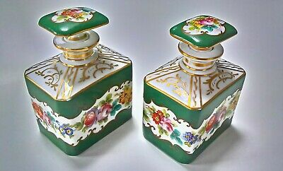 Pair Of 19Th Century Porcelain Antique French Perfume, Cologne Bottles