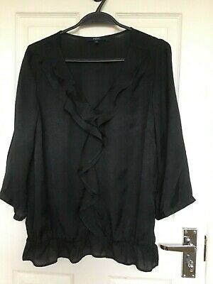 Ladies Frill Front Blouse In Blue/black Colour By Next Size 12