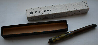 Parker Duofold 14k Gold Nib Vintage Fountain Pen With Original Box