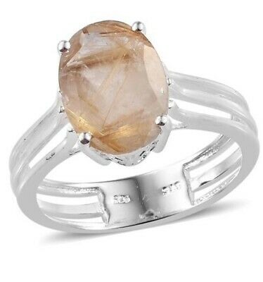 Golden Rutilated Quartz Sterling Silver Solitaire Ring; Sz9; 5.15ctw