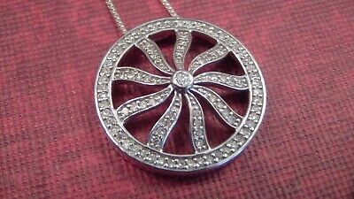 925 Pave'  Diamond Circle Pendant and Chain