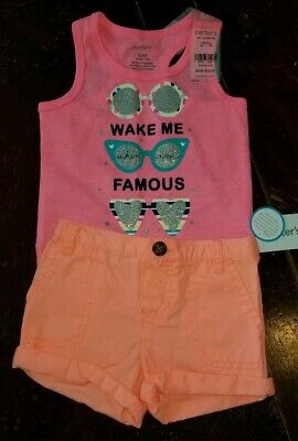 1db665b52 6 Months Carter's Baby Girl Outfit Sunglasses Shorts Wake Me When I'm  Famous NWT