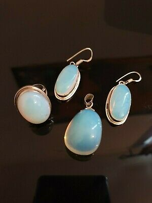 Beautifull Opalite and sterling silver earrings, pendant and ring set size N