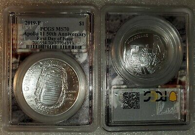 2019-P Apollo 11 50th Anniversary UNC Silver Dollar PCGS MS70 First Day of Issue