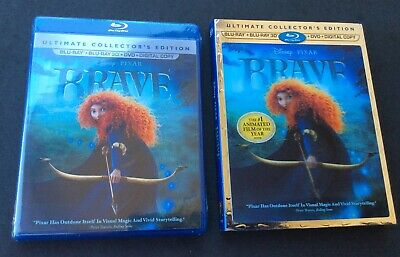 Brave Disney 3D Blu-ray DVD Ultimate Collector's Lenticular Slipcover NEW SEALED