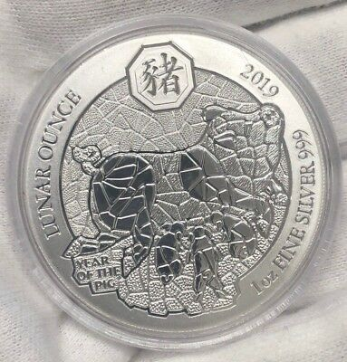 2019 RWANDA 1 oz Pure Silver BU Coin in Capsule - LUNAR OUNCE - YEAR OF THE PIG