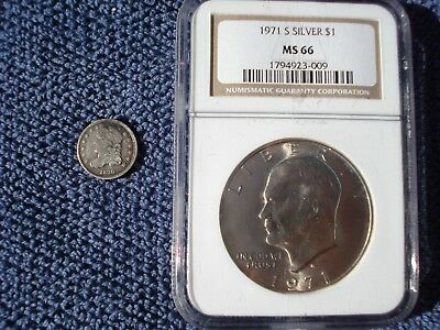 Two Coins: 1836 Capped Bust Half Dime 5C + 1971 S Silver Eisenhower Dollar
