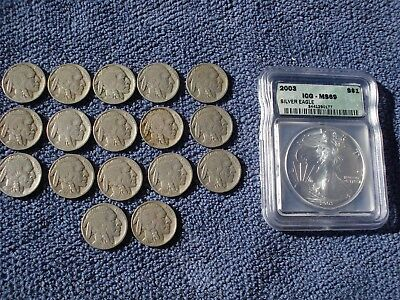 18 Coins: 17 Buffalo Nickels Twenties And Thirties +2003 Silver American Eagle