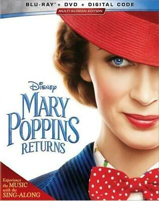 Mary Poppins Returns Blu-ray/DVD/Digital Code Emily Blunt FREE SHIP PRE-ORDER