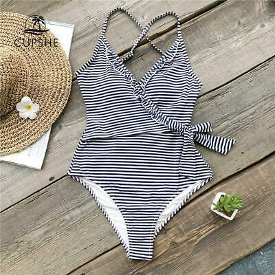 8845e0c919 CUPSHE Navy And White Striped One-piece Swimsuit Women Ruffle Tied Bow  Monokini