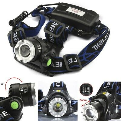Fishing Tactical 60000LM T6 LED Headlamp Zoom 18650 Headlight Head Lamp Torch