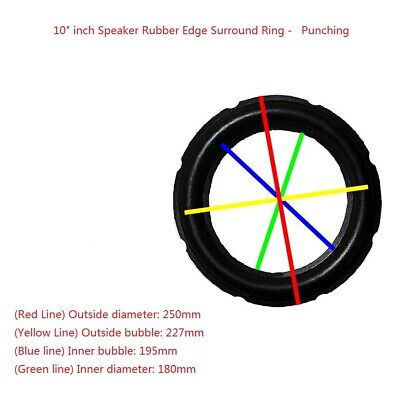 """2x 10"""" Inch Rubber Edge Kit There Punching for Speaker Diaphragm Surround Rim"""