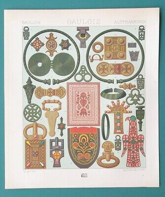 JEWELRY of Ancient Brits Gauls Celts - COLOR Litho Print A. Racinet