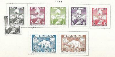 8 Greenland Stamps from Quality Old Album 1938