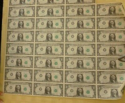 1985 Uncut Currency Sheet of 31 $1.00 (one)  dollar Federal Reserve Notes Money