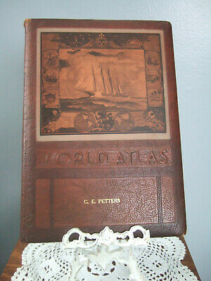 Vtg 1942 Rand McNally World Atlas Leather Bound Readers Edition GE Petters