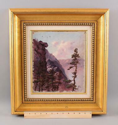 Small 1896 Antique William Gedney Bunce, Mountain & Birds Landscape Oil Painting