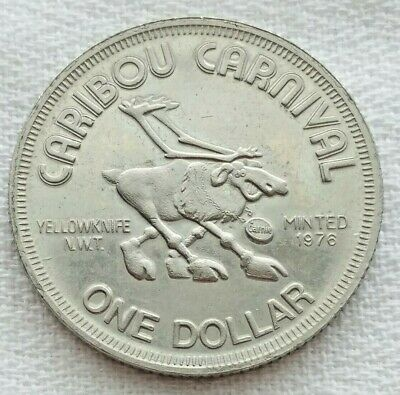 1976 Canada Caribou Carnival Yellowknife N.W.T. $1 Trade Token Coin Dog Derby