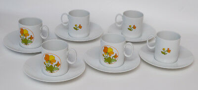 6 Floral Cups And 6 Plain Saucers Thomas Germany Porcelain Orange Yellow
