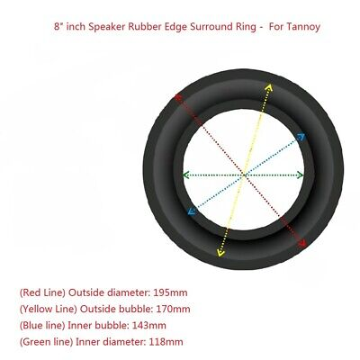 """2x 8"""" Inch Rubber Edge Kit for Tannoy Subwoofer Speaker Diaphragm Surround Ring"""