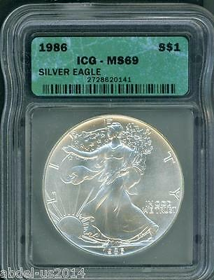 1986 American Silver Eagle ASE S$1 ICG MS69 First Year of Issue BEAUTIFUL