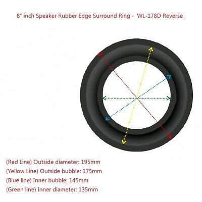 """2x 8"""" Inch WL-178D Reverse Rubber Edge Kit for Subwoofer Diaphragm Surround Ring"""