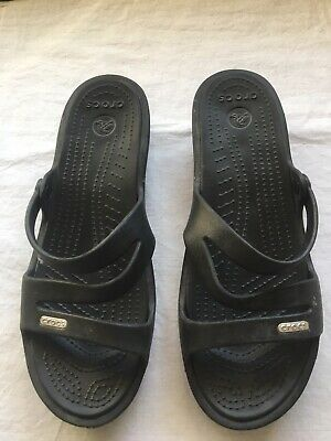 1abdb77c2 Crocs Patricia Sandals Flip Flops Womens Rubber Thongs Slip On Shoes BLK  Size 9