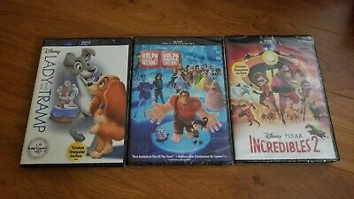 Lot of 3 NEW Disney DVD Movies Ralph Breaks the Internet Incredibles 2