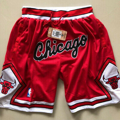 Chicago Bulls Vintage Basketball Game Shorts NBA Men's NWT Stitched Pants Red
