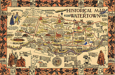 Early Historical Map of Watertown NY 1630-1930 Vintage History Wall Art Poster