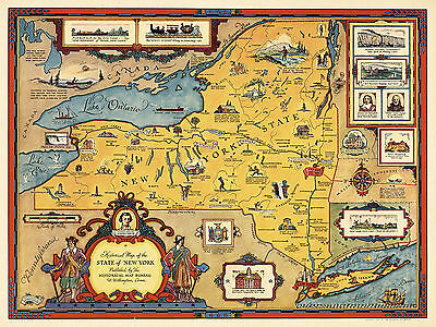 1937 Pictorial Historical Map State New York Vintage Wall Art Poster Genealogy