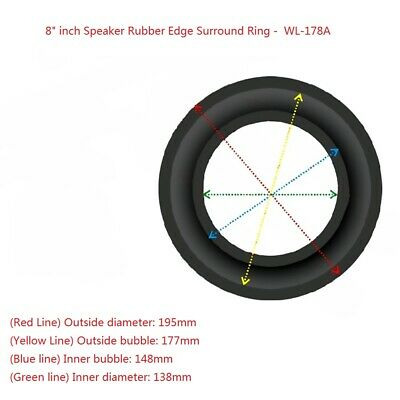 """2x 8"""" Inch WL-178A Rubber Edge Kit for Subwoofer Speaker Diaphragm Surround Ring"""
