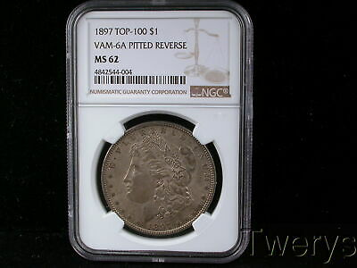 1897 Morgan Silver Dollar $1 Top-100 Vam-6A Pitted Reverse Ngc Ms 62