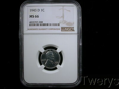1943-D LINCOLN STEEL CENT 1c NGC MS 66