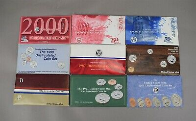 United States Mint Uncirculated Coin Set 2001 2000 1999 1998 1993 1991 1985 1984
