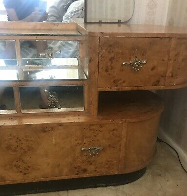 ART DECO Walnut DRESSING TABLE EARLY VINTAGE, Plus 2 BEDSIDE TABLES