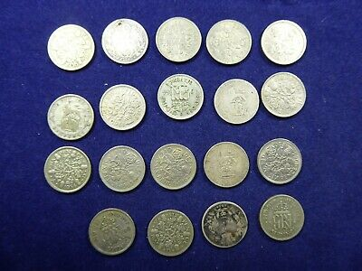 Lot of silver Six Pence Coins - Great Britain