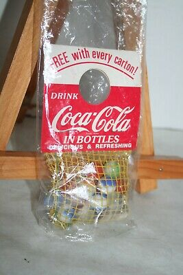 1960's Drink Coca Cola Bottle Topper Mesh Bag of Swirl, Cat Eye Marbles