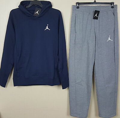 e9790715d94c94 Nike Air Jordan Fleece Sweatsuit Hoodie + Pants Navy Blue Grey New (Size  Large)