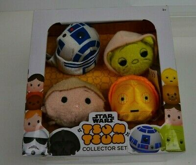 NEW Disney Star Wars Tsum Tsum Collector Set of 4 Yoda C3-PO R2-D2 Luke NIB Box
