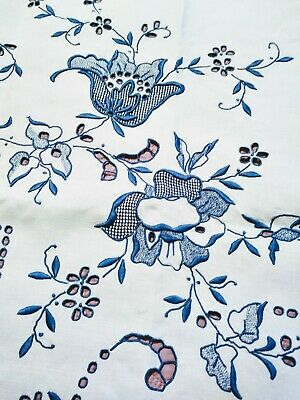 """Amazing Blue on White Linen Madeira Cutwork & Embroidered Tablecloth 64 by 82"""""""