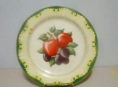 Vintage Tin Decorative Plate Featuring Still Life Fruits - Apples & Plums Pretty